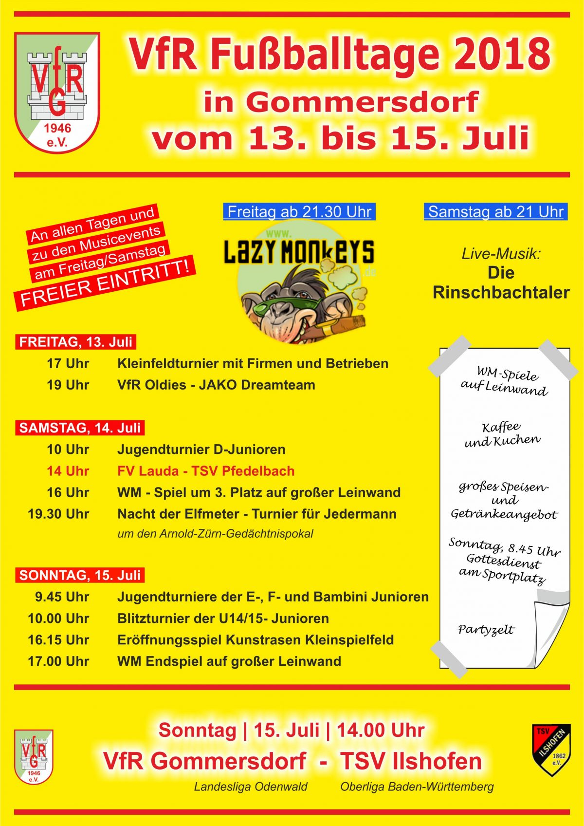 11. Juli: Am Wochenende VfR Fußballtage