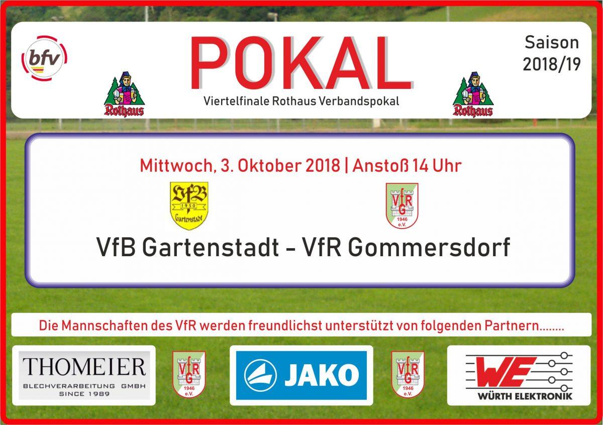 1. Oktober: Am Mittwoch im Pokal beim VfB Gartenstadt