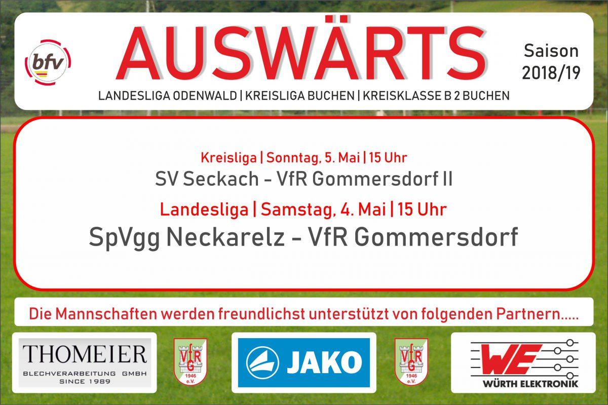 3. Mai: Morgen Spitzenspiel in Neckarelz, am Sonntag in Seckach