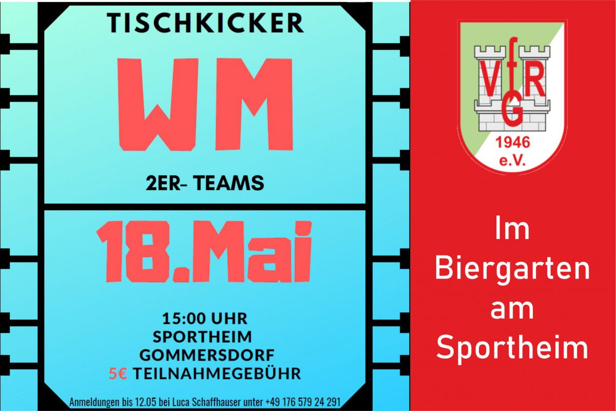 10. Mai: Nächsten Samstag Tischfußball Turnier