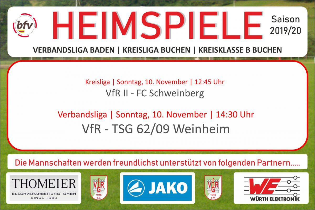 9. November: Zwei Heimspiele