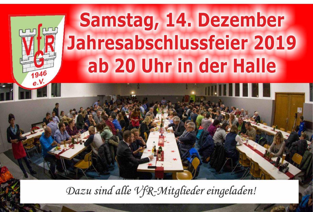10. Dezember: Am Samstag Jahresabschlussfeier