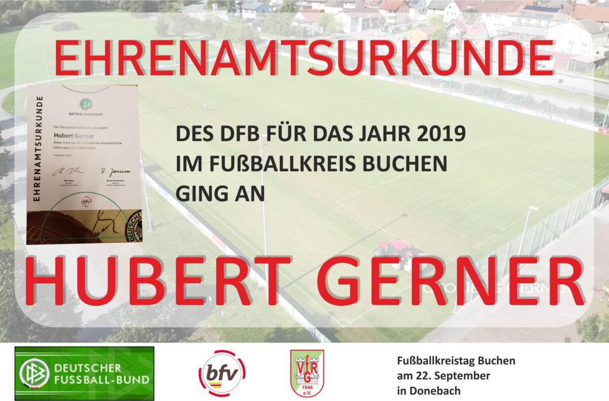 23. September: Ehrenamtsurkunde an Hubert Gerner